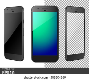 Realistic set vector illustration mock-up of modern generation smart-phone google pixel. Isolated on white, transparent background, layered, just put image on content layer. Scale vector image. Black