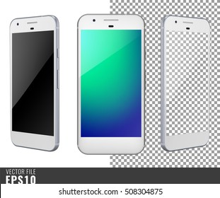 Realistic set vector illustration mock-up of modern generation smart-phone google pixel. Isolated on white, transparent background, layered, just put image on content layer. Scale vector image. White