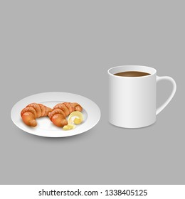 Realistic set with white cup of coffee croissant on plate with butter. Vector illustration - Vector