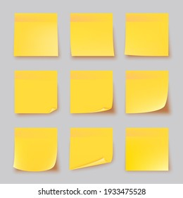 Realistic set yellow stick note isolated on gray background. Post it notes collection with shadow. Yellow color