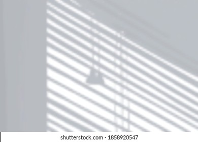 Realistic shadow composition with bright wall and silhouettes of hanging lamp and venetian blinds vector illustration