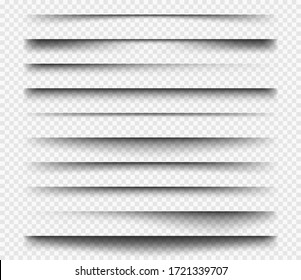 Realistic shadows. Square dividers transparent black soft shadows template overlay panels for web design projects vector set