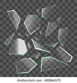 Realistic Shards of Broken Glass on Transparent Background Sharp Piece. Vector illustration