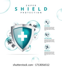 Realistic shield protection from virus bacteria and PM 2.5 icon logo infographic layout vector