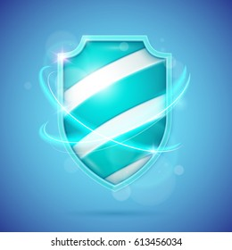 Realistic shield, a symbol of protection and reliability. Vector illustration.