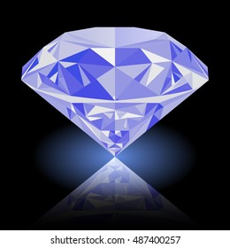 Realistic shining blue diamond jewel with reflection and blue glow isolated on black background. Colorful gemstone that can be used as part of logo, icon, web decor or other design.