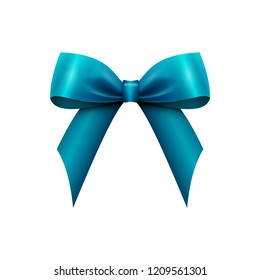 Realistic Shiny Blue Satin Bow isolated on white background. Vector illustration