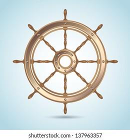 Realistic shiny captain sheep wheel on blue nautical background