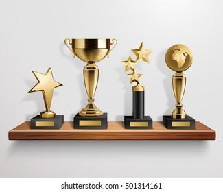 Realistic shiny golden trophy awards on wooden shelf on grey background vector illustration
