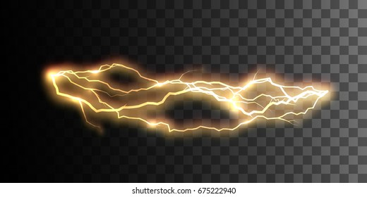 Realistic shiny lightning or electricity flash isolated on checkered transparent background. Electric discharge visual effect for design. Vector illustration