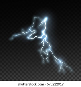 Realistic shiny lightning isolated on checkered transparent background. Electric visual effect for design. Vector illustration. Thunderbolt natural effect