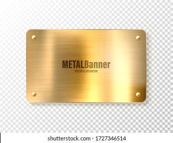 Realistic shiny metal banner. Brushed steel plate. Polished copper metal surface. Vector illustration.
