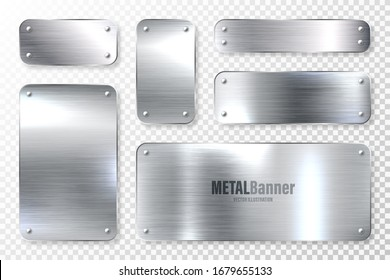 Realistic shiny metal banners set. Brushed steel plate. Polished silver metal surface. Vector illustration.