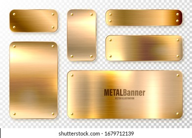 Realistic shiny metal banners set. Brushed steel plate. Polished copper metal surface. Vector illustration.