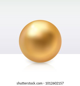 Realistic shiny sphere gem isolated on white background. Round vector 3d gold pearl.