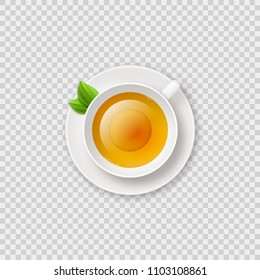 Realistic shiny tea cup with herbal green tea vector illustration on transparent checkered background. Tea cup top view.