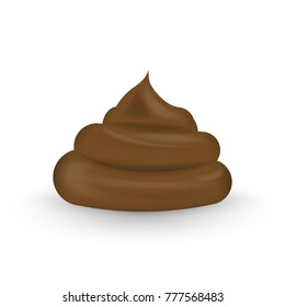 Realistic shit. Melted milk chocolate isolated on white background. Vector illustration. Eps 10.