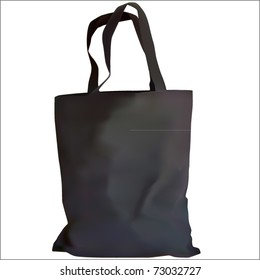realistic shopping bag in black color vector