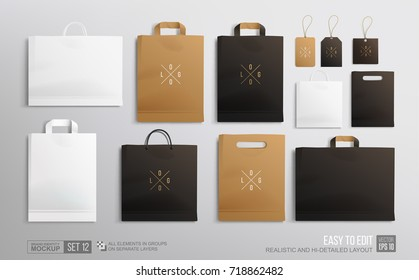 Realistic Shopping Bag Mockup set for branding and corporate identity design. Square and horisontal black Shopping bag blank Mockup. Paper package and price tags template isolated on grey