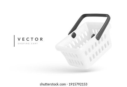 Realistic shopping cart is flying isolated on white background. Empty shopping basket. Vector illustration