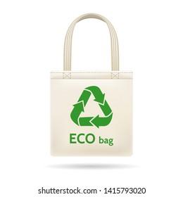 Realistic shopping ecobag. Bagging cloth white bag, vectors bagful recycled canvas sac illustration, reusable green fabric shopping handbag