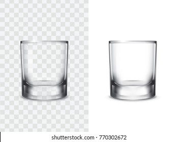 Realistic shot drinking glasses for alcoholic drinks, vector illustration isolated on white and transparent background. Mock up, template of strong alcohol shots, such as vodka, tequila, whiskey