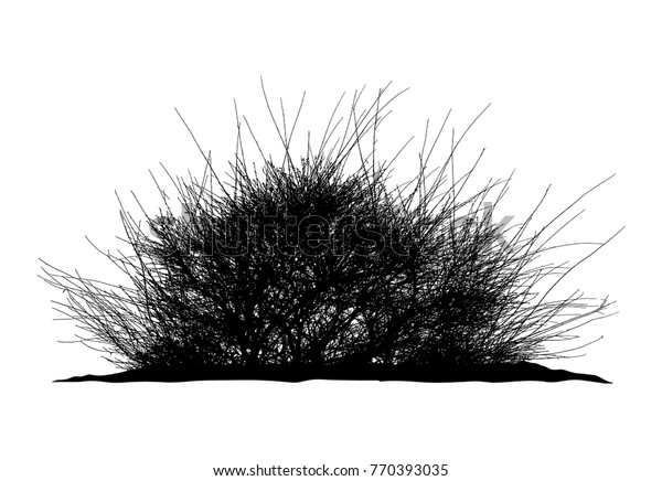 Clipart of a Silhouetted African Umbrella Thorn Tree by Pams Clipart - #2695