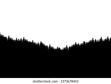 Realistic silhouette of forest and tree tops. Isolated on white background with space for text - vector