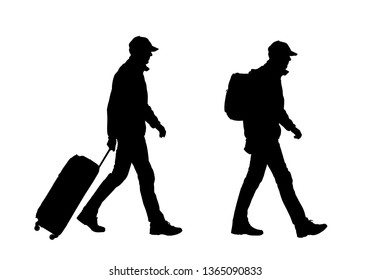 Realistic silhouette of walking man tourist with backpack and suitcase. Cap on head. Isolated on white background - vector