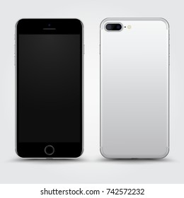 Realistic Silver Black Smartphone with Blank Screen isolated on Background. Front and Back View For Web, Application. High Detailed Device Mockup Separate Groups and Layers. Easily Editable Vector