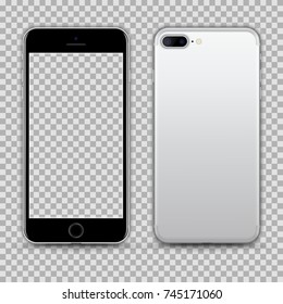 Realistic Silver BlackSmartphone with Transparent Screen Isolated. Front and Back View For Print, Web, Application. High Detailed Device Mockup Separate Groups and Layers. Easily Editable Vector.