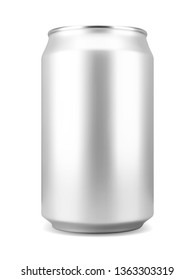 Realistic silver colored aluminum soft drink or beer can, isolated on white background. Vector illustration