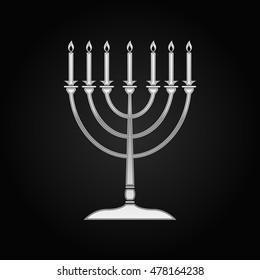 Realistic Silver Hanukkah menorah icon on black background. Vector Illustration
