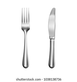 Realistic silver knife and fork – stock vector