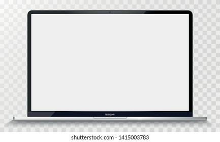 Realistic Silver macbook with Transparent Screen Isolated. 12 inch Laptop. Open Display. Can Use for Project, Presentation. Blank Device Mock Up. Separate Groups and Layers. Easily Editable Vector.