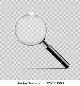 Realistic silver magnifier on transparent background.Vector