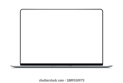 Realistic Silver Notebook with Blank Screen. 16 inch Scalable Laptop computer. Can be Used for Project, Presentation. Blank Device Mock Up. Separate Groups and Layers. Easily Editable EPS Vector