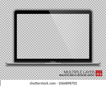 Realistic Silver Notebook with Transparent Screen Isolated. 12 inch Laptop. Open Display. Can Use for Project, Presentation. Blank Device Mock Up. Separate Groups and Layers. Easily Editable Vector.