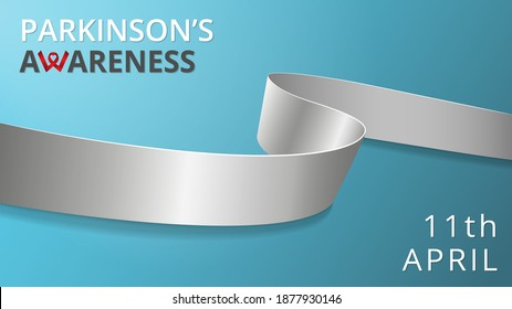 Realistic silver ribbon. Awareness Parkinson's disease month poster. Vector illustration. World Parkinson day solidarity concept. Teal background. Symbol of neurological disease, dyslexia brain cancer
