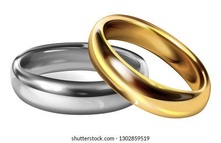 Realistic Silver Ring and Golden Ring Vectors Together