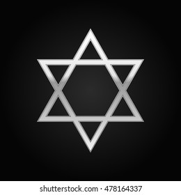 Realistic Silver Star of David icon on black background. Vector Illustration