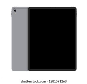 Realistic Silver Tablet  Front and Back Display View