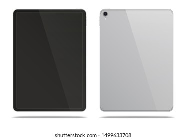 Realistic silver tablet pc isolated on white background. Vector illustration.