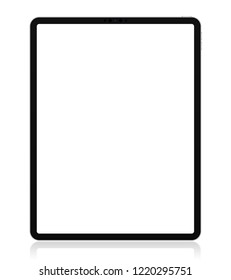 Realistic Silver / White Drawing Pad with Transparent Screen. 12.9 inch Scalable Tablet. Front Display View. High Detailed Device Mockup. Separate Groups and Layers. Easily Editable Vector