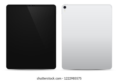 Realistic Silver / White Drawing Pad with Blank Screen. 12.9 inch Scalable Tablet. Front and Back Display View. High Detailed Device Mockup. Separate Groups and Layers. Easily Editable Vector