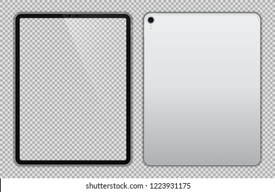 Realistic Silver / White Drawing Pad with Transparent Screen. 12.9 inch Scalable Tablet. Front and Back Display View. High Detailed Device Mockup. Separate Groups and Layers. Easily Editable Vector