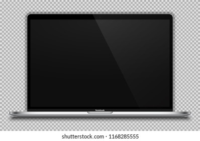 Realistic Silver / White Notebook with Blank Screen Isolated. 15 inch Laptop. Can Use for Project, Presentation. Blank Device Mock Up. Separate Groups and Layers. Easily Editable Vector. EPS 10.