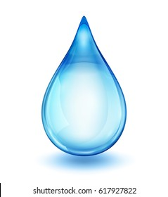 Realistic single blue water drop isolated on white vector illustration, EPS 10 contains transparency.