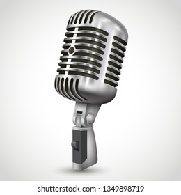 Realistic single silver microphone retro design with black switch on white gray background isolated vector illustration