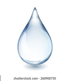 Realistic single water drop isolated on white vector illustration, EPS 10 contains transparency